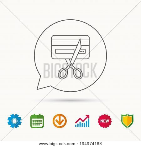 Expired credit card icon. Shopping sign. Calendar, Graph chart and Cogwheel signs. Download and Shield web icons. Vector