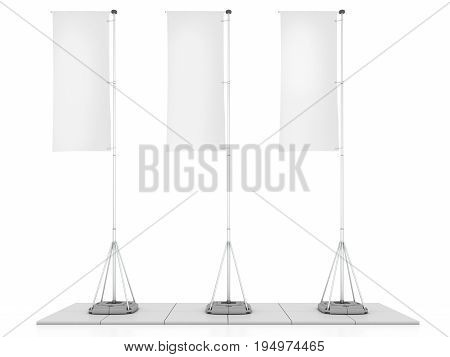 White Flag Blank Expo Banner Stand. Trade show expo booth. 3d render illustration isolated on white background. Template mockup for your expo design
