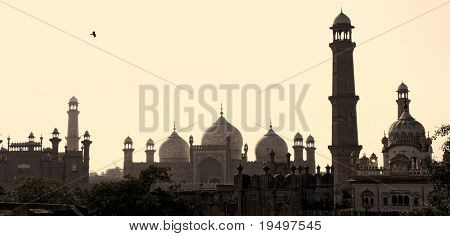 Skyline of Lahore old city scape with Badshahi Mosque, Pakistan