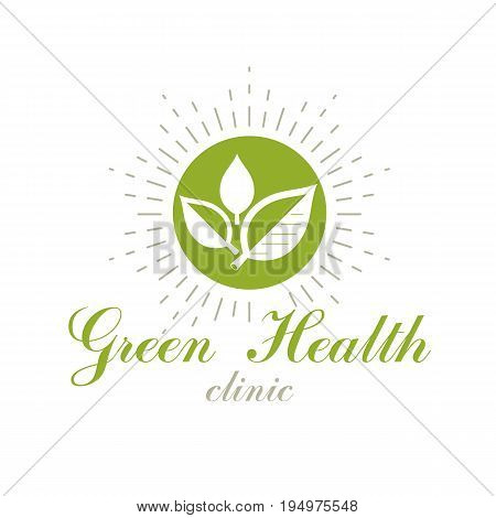 Green leaves isolated on white background. Living in harmony with nature concept green health idea vector logo.