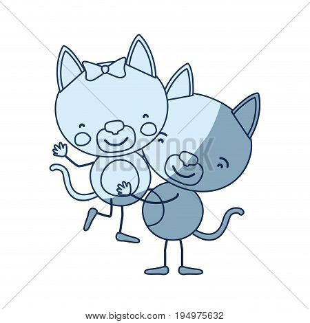 blue color shading silhouette caricature with couple of kittens one carrying the other cute animals love vector illustration