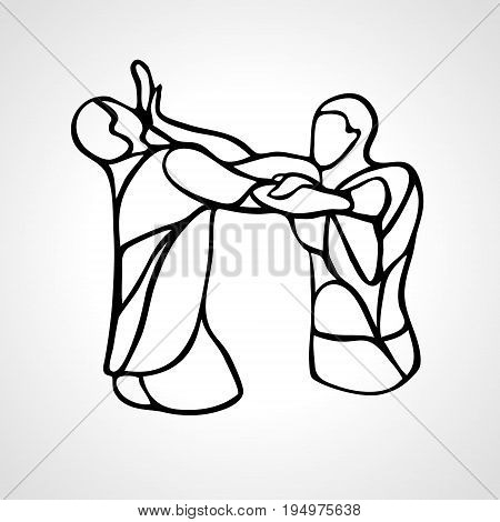 Fighters of krav maga. Sport club emblem. Streetfighters. Vector illustration