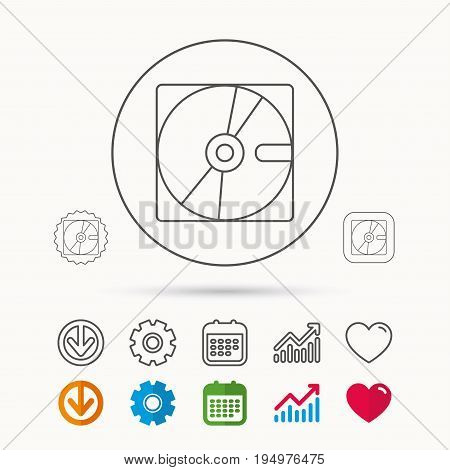 Harddisk icon. Hard drive storage sign. Calendar, Graph chart and Cogwheel signs. Download and Heart love linear web icons. Vector
