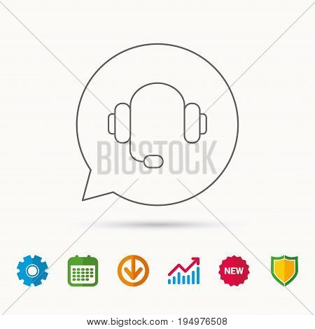 Headphones with microphone icon. Musical notes signs. Calendar, Graph chart and Cogwheel signs. Download and Shield web icons. Vector