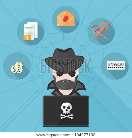 A bearded hacker in a raincoat wearing dark glasses and a hat behind a computer with a skull. Cyber Attack. Documents, letter, keys, password Vector icons in a flat style