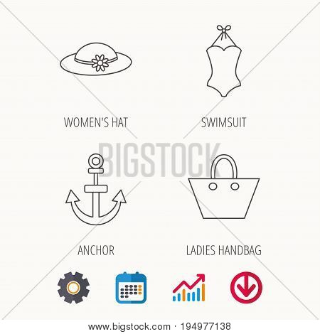Anchor, ladies handbag and swimsuit icons. Swimsuit linear sign. Calendar, Graph chart and Cogwheel signs. Download colored web icon. Vector