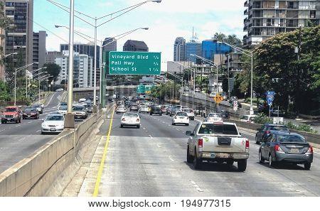 Honolulu Hawaii - May 27 2016: Weekday morning traffic on the busy island of Oahu.