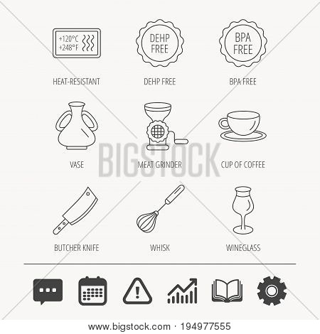 Coffee cup, butcher knife and wineglass icons. Meat grinder, whisk and vase linear signs. Heat-resistant, DEHP and BPA free icons. Education book, Graph chart and Chat signs. Vector