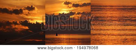 three photos of dusk sunset over the sea