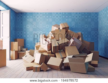 the heap of the cardboard boxes in the room. 3d concept  illustration
