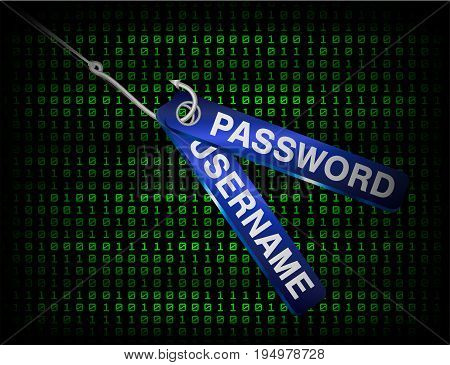 Fishing hook phishing username and password data