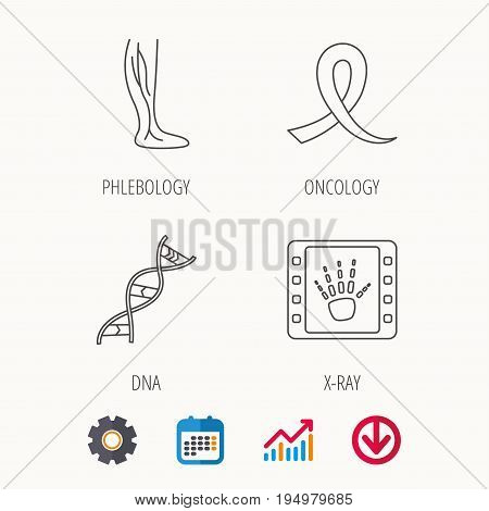 Phlebology, DNA and X-ray icons. Oncology awareness ribbon linear sign. Calendar, Graph chart and Cogwheel signs. Download colored web icon. Vector
