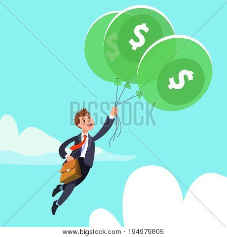 Happy businessman in business suit flying in the sky holding balloons with dollar sign. Concept of success wealth abundance