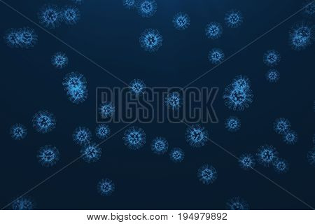 3d rendering viruses in infected organism, viral disease epidemic, virus abstract background.