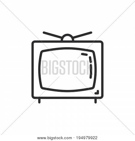 Television line icon outline vector sign linear style pictogram isolated on white. Old tv symbol logo illustration. Editable stroke. Pixel perfect graphics