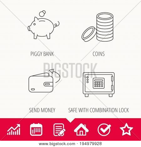 Piggy bank, cash money and wallet icons. Safe box, send money linear signs. Edit document, Calendar and Graph chart signs. Star, Check and House web icons. Vector