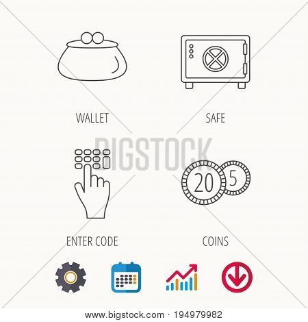Cash money, safe box and wallet icons. Coins, enter code linear sign. Calendar, Graph chart and Cogwheel signs. Download colored web icon. Vector