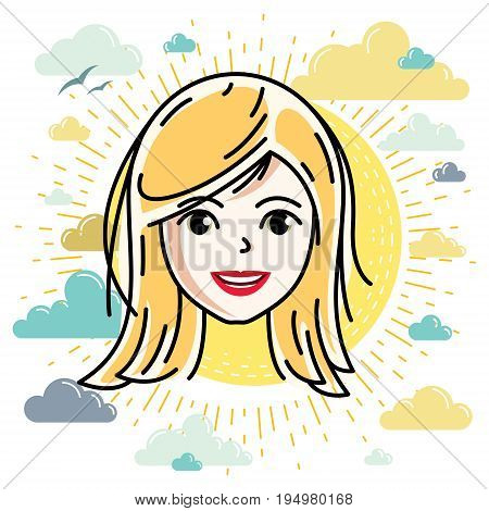Beautiful women face human head. Vector character attractive blonde lady face features.