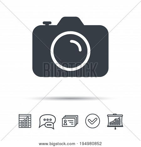 Camera icon. Professional photocamera symbol. Chat speech bubble, chart and presentation signs. Contacts and tick web icons. Vector