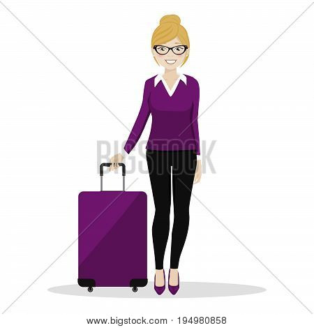 Executive female walking with her suitcase on white background