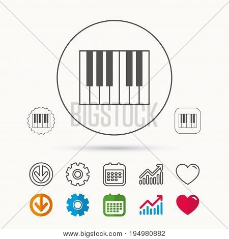Piano icon. Royal musical instrument sign. Calendar, Graph chart and Cogwheel signs. Download and Heart love linear web icons. Vector