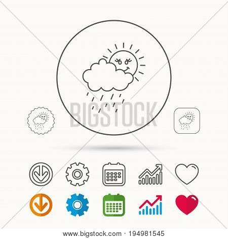 Rain and sun icon. Water drops and cloud sign. Rainy overcast day symbol. Calendar, Graph chart and Cogwheel signs. Download and Heart love linear web icons. Vector
