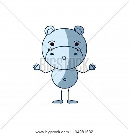 blue color shading silhouette caricature of cute hippopotamus astonished expression vector illustration