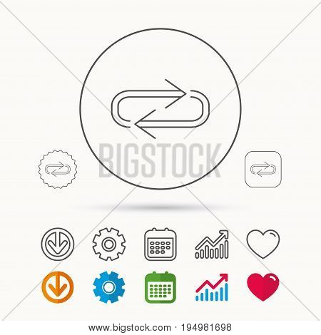 Repeat icon. Full rotation sign. Reload, refresh loop symbol. Calendar, Graph chart and Cogwheel signs. Download and Heart love linear web icons. Vector