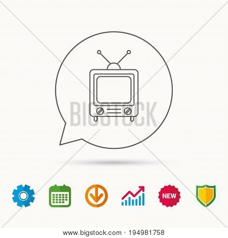 Retro tv icon. Television with antenna sign. Calendar, Graph chart and Cogwheel signs. Download and Shield web icons. Vector