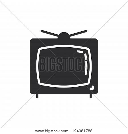 Television icon vector filled flat sign solid pictogram isolated on white. Old tv symbol logo illustration. Pixel perfect graphics