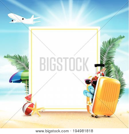 Air plane open luggage travel case with Starfish flower palm leaf sand beach element on blue sky background concept for travel vacation in summer time vector illustration eps10