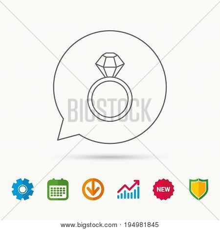 Ring with diamond icon. Jewellery sign. Calendar, Graph chart and Cogwheel signs. Download and Shield web icons. Vector