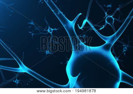 Conceptual illustration of neuron cells with glowing link knots. Synapse and Neuron cells sending electrical chemical signals. Neuron of Interconnected neurons with electrical pulses. 3D rendering