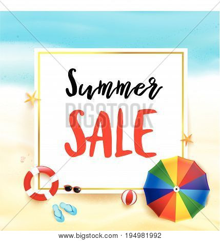 Summer sale titile on white rectangle over Abstract background top view of sand and sea beach starfish shell rock and umbrella for summer vacation promotion concept vector illustration eps10