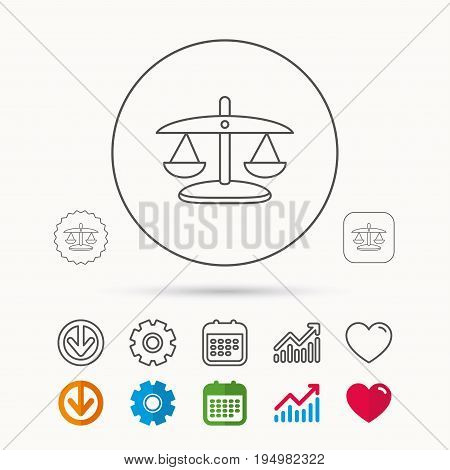 Scales of Justice icon. Law and judge sign. Measurement tool symbol. Calendar, Graph chart and Cogwheel signs. Download and Heart love linear web icons. Vector