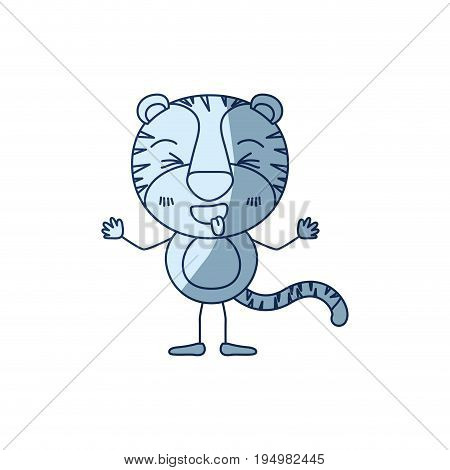 blue color shading silhouette caricature of cute tiger disgust expression and sticking out tongue vector illustration
