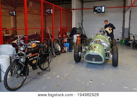 MAGNY-COURS FRANCE July 1 2017 : Oldies in the pits. The First French Historic Grand Prix takes place in Magny-Cours with a lot of ancient sports and Formula one cars.