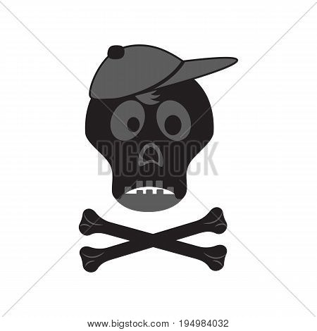 Funny skull with crossbones in a cap