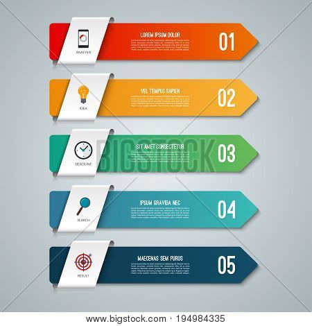 Arrow infographic elements. Business concept with 5 options. Vector illustration. Can be used for workflow layout, diagram, step by step infographics, graph, web design.