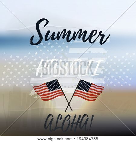 American vector poster with flag stars. Hawaii Aloha