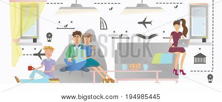 Young people relax in a public area of a hostel or hotel. Vector illustration.