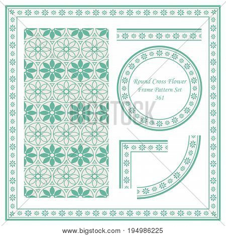 Vintage Border Pattern Of Round Cross Flower