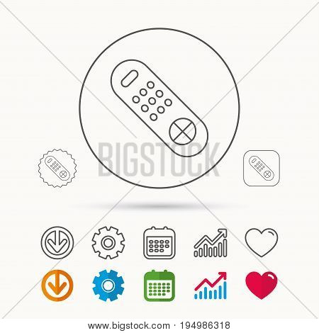 Remote control icon. TV switching channels sign. Calendar, Graph chart and Cogwheel signs. Download and Heart love linear web icons. Vector