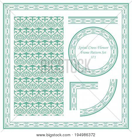 Vintage Border Pattern Of Spiral Cross Flower