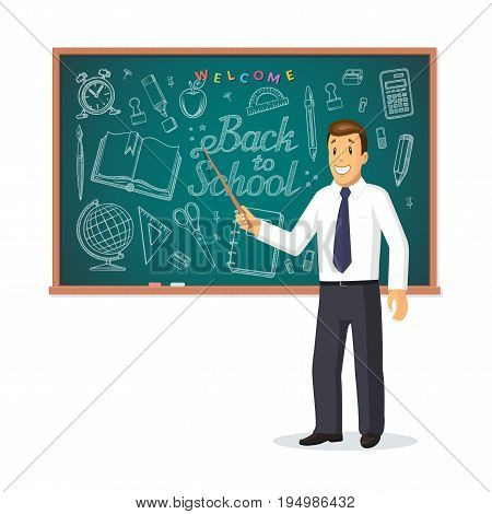 Welcome back to school concept. Smiling teacher with pointer stick standing in front of school chalkboard with hand drawn lettering and set of doodle icons of school supplies . Vector illustration