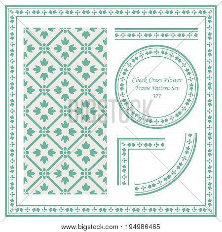 Vintage Border Pattern Of Check Cross Frame Flower