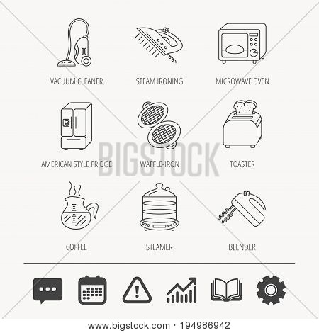 Microwave oven, coffee and blender icons. Refrigerator fridge, steamer and toaster linear signs. Vacuum cleaner, ironing and waffle-iron icons. Education book, Graph chart and Chat signs. Vector
