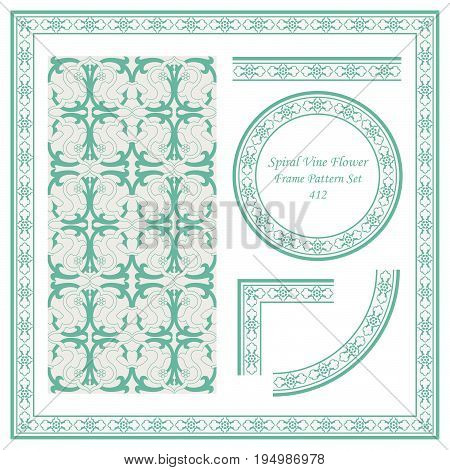 Vintage Border Pattern Of Spiral Cross Vine Flower