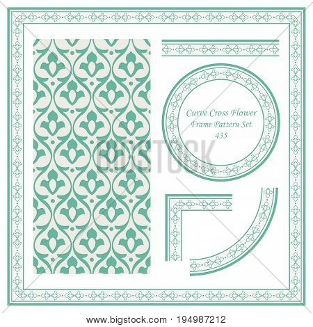Vintage Border Pattern Of Curve Cross Flower