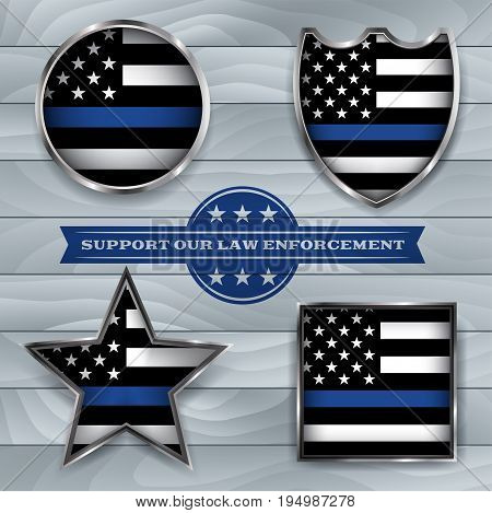 American flag badges and emblems symbolic of support for law enforcement. Vector EPS 10 available.